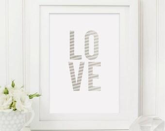 Silver Love Print - Love Print - Romantic Print - Gift for Couples - Couples Print - Silver Print - Typography Print