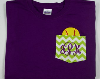 Monogrammed Chevron Pocket T-shirt with Appliqued Softball in Pocket