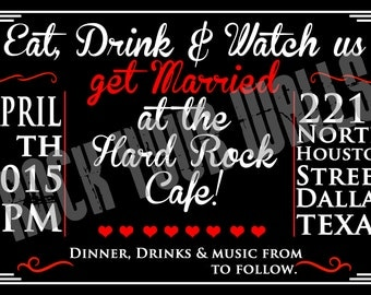 Red, Black and White Rock n Roll Wedding Invitation, RSVP and FAQ Card! Custom! Digital.
