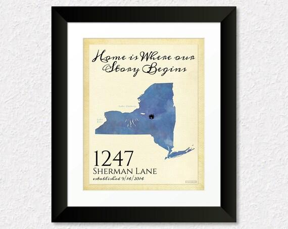 Custom Housewarming Gift Personalized New House Map Print