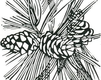 Ponderosa Pine (Pinus Ponderosa) - Linoleum Block Print - 7x5