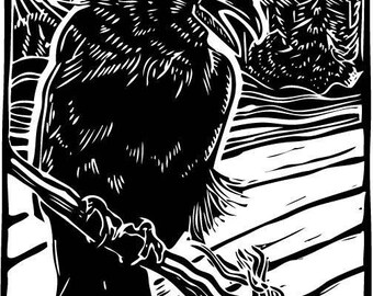 American crow #2 (Corvus brachyrhynchos) - Linoleum Block Print - 9x6