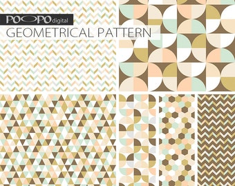 blue coral brown digital paper geometric scrapbook pattern geometrical shapes textures triangle hexagon chevron background DIY image graphic