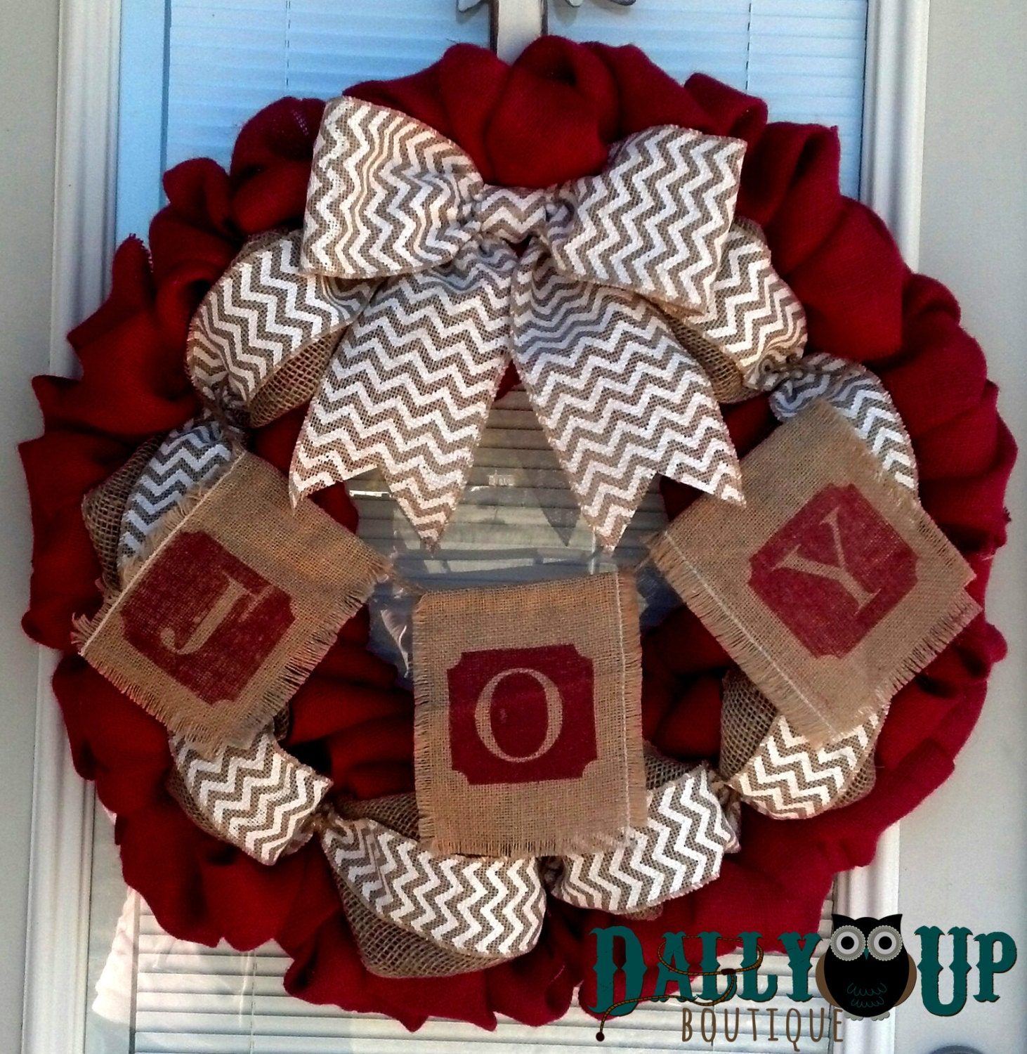 Burlap wreath christmas red natural with