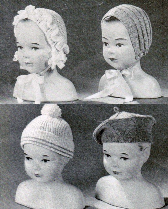Vintage Baby Hat Knitting Patterns : Set of 7 Vintage Baby Hat Knitting Patterns PDF / Baby beret