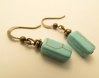 3913 - Turquoise and Bronze Earrings