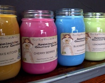 Four Pack of 16 oz. Appalachian Country Soy Candles Soy Candles. Hand Poured