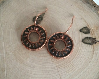 Round Copper Sun Earrings, Impression on Both Sides