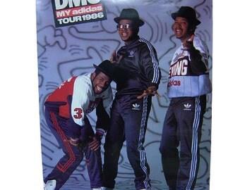 Very rare!!!1986 Deadstock RUNDMC my adids tour poster