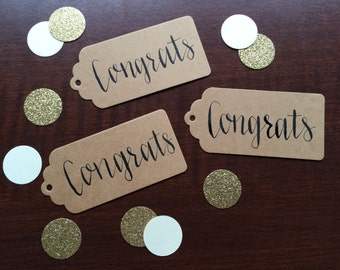 Handwritten Congrats Gift Tags with Twine - set of 10 - Gift Tags, Hang Tags, Party Tags