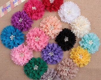 20pcs Wholesale Chiffon flowers with Pearls and Rhinestones,Fabric Flowers,DIY Hair Accessory Supplies