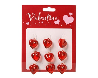 "Small .75"" Red Acrylic Valentine Heart Ornaments / Embellishments (Pkg. 9)"