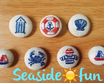Cross stitch buttons/brooches/magnets - seaside fun series