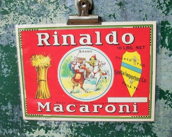 Vintage Authentic Food Label / Retro Artwork / Macoroni from Pennsulvania