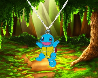 Pokemon sterling silver necklace with Squirtle charm  Free UK Postage!