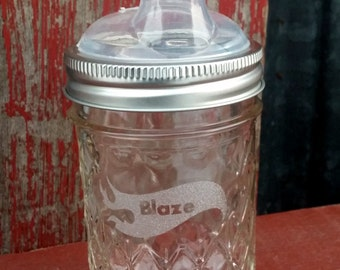 Personalized Mason Jar Sippy Cup | Nuby Sippy Kids Eco Mason Jar | Children's Drinking Lid and Jar | Eco Mason Jar Lid | Glass Baby Bottle