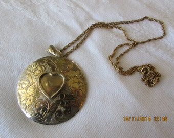 Vintage Heart In A Circle Necklace