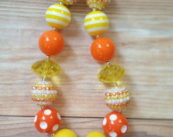 Candy Corn Baby Necklace, Fall Necklace, Halloween Necklace, Candy Corn, Candy Corn Necklace, Orange Yellow and White Necklace