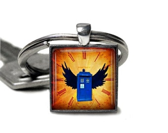 Tardis Doctor Who  Glass Cabochon Silver key chain | Necklace V3133