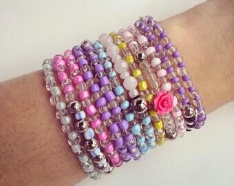 Multi strand beaded bracelet, Seed bead wrap bracelet, pastel colors, necklace, boho chic bohemian, stackable multicolor bracelet