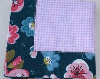 LAST ONE** Baby Girl Flannel Blanket, Pink and Navy Blue Receiving Blanket, Gingham Flannel Blanket, Baby Girls Nursery, Floral Fabric