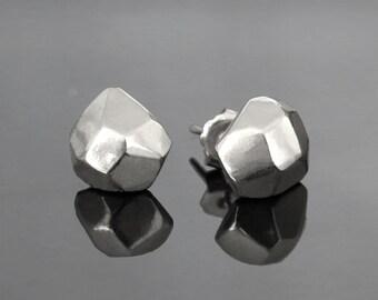 geometric earrings, faceted stud earrings, minimalist earrings, stud earrings, geometric earrings, faceted earrings