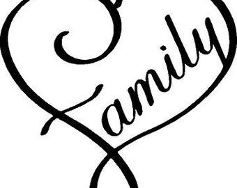 Heart Family Window Decal
