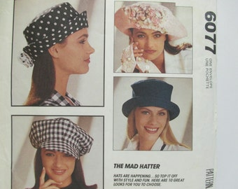 McCall's Crafts 6077 ~ Ten Hat Styles From The Mad Hatter Collection: Newsboy & Baseball Cap, Floppy Big Brimmed Hat Sewing Pattern