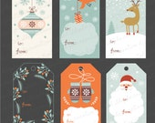 INSTANT DOWNLOAD, Printable Christmas Tags, Digital Collage Sheet, Retro Vintage Holiday Labels illustration clip art - christmas gift tags