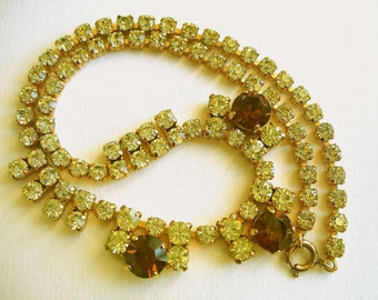 Vintage Rhinestone Citrine Topaz Choker ~ Lemon green-yellow amber coloured glass diamante fringe costume jewellery goldtone metal necklace