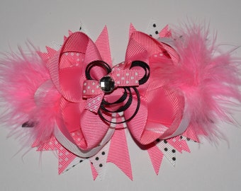 Minnie Mouse Bow with Feathers