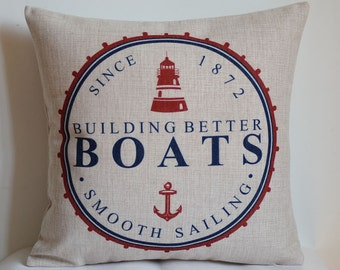 Boat pillow cover, Nautical boat pillow cover, beach style pillow cover