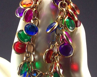 Vintage 1980 Glass Bead Bracelet, Multi Colored, Hand Made.