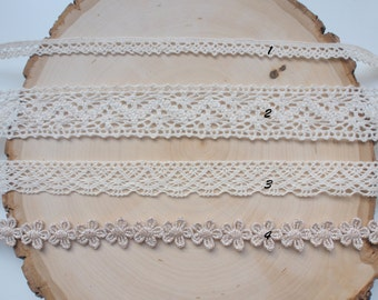 Embroidery Cotton Lace Trim - Scalloped Edge - Flower - Ivory lace - Gold lace