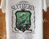Slytherin T shirt, Slytherin Shirts Always Magic Custom Handmade Screen Print White Harry Potter Clothing top tee unisex T Shirts  S M L
