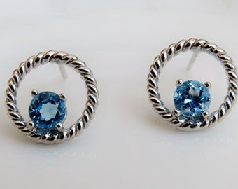 Blue Topaz Sterling Silver Earrings, 925 Topaz Ear Studs, November Birthstone, Anniversary, Birthdays, Wedding, Special Occasions