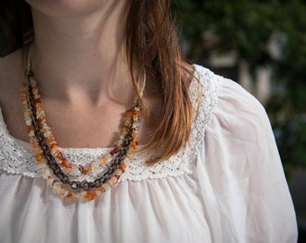 Orange Tone with Copper Chain Beaded Ribbon Necklace