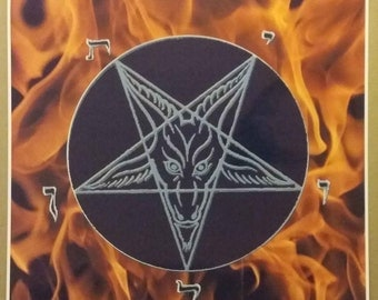 "Pentagram Fire Poster Size 24"" x 24"" Evil Art Devil Fire Pentagram Fantasy"