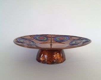 Vintage Mid Century Modern copper candleholder  with enamel decoration from the 1960s / 1970s.