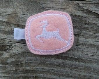 Pink John Deer Inspired Hair Clip-Deer Hair Clip-Deer Hair Bow-No Slip Grip-Toddler Hair Clip-Felt Hair Clip-Baby Hair Clip-Hair Clippies