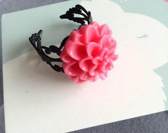 Kawaii pink flower ring