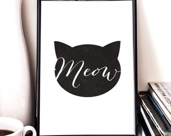 Meow, Cat Illustration, Giclee Art Print, Wall decor,