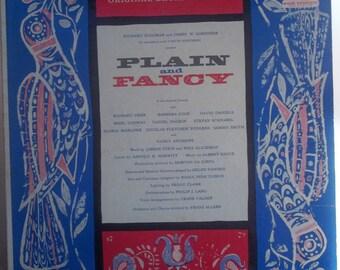 Plain and Fancy, Original Broadway Cast Soundtrack, Vintage Record Album, Vinyl LP, Amish Play Musical, Amish Culture, Broadway Musical