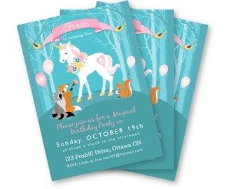Unicorn Birthday Invitation, Woodland Unicorn Invite, Printable, Customized text, girl's unicorn birthday party, woodland animals