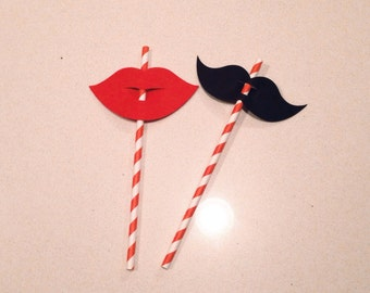 Mustache and lips straw topper