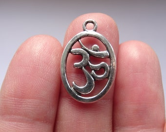 8 Oval Om Charma Antique Silver 22mm x 14mm - SC080