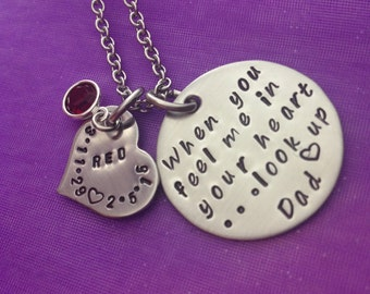 When You Feel Me In Your Heart...Look Up- Personalized Hand Stamped Stainless Steel Necklace- Remembrance Jewelry