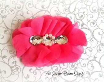"Hot Pink Flowers - Beaded Chrystal Chiffon Flower - Fabric Flower - Pearl Chrystal Flowers - Rosettes - Headband - Supplies - DIY- 5"""