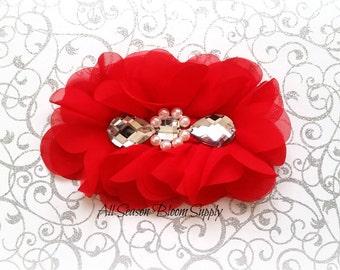 "Red Flowers - Beaded Chrystal Chiffon Flower - Fabric Flower - Pearl Chrystal Flowers - Rosettes - Headband - Supplies - DIY- 5"""