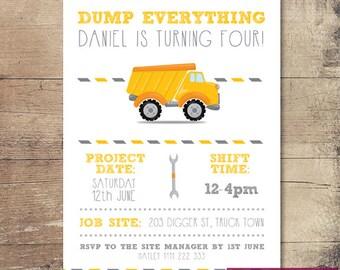Printable Construction Site Birthday Invitation / Customisable Digital File / JPG or PDF / Yellow Truck